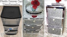 DIY Glam Nightstand From Plastic Cart! How to Get a Glam Nightstand From a Plastic Drawer Cart! Plastic Drawer Makeover, Plastic Dresser, Decorating Plastic Drawers, Diy Mirrored Furniture, Furniture Makeover, Ikea Makeover, Diy Nightstand, Nightstands, Diy Crafts For Home Decor