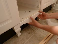 Attaching Vanity Skirt and Legs/Feet to either kitchen base cabinets or bathroom vanity cabinets. Attaching Vanity Skirt and Legs/Feet to either kitchen base cabinets or bathroom vanity cabinets. Furniture Styles, Furniture Projects, Custom Furniture, Home Projects, Furniture Legs, Timber Furniture, Cheap Furniture, Geek Furniture, Furniture Dolly