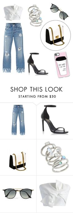 """#Dinnerwithfriends3 👠🍷👓"" by heeeeeej1 ❤ liked on Polyvore featuring 3x1, Yves Saint Laurent, Kendra Scott, Ray-Ban, Chicwish and Casetify"