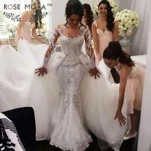 Brillant manches longues perles dentelle perlée sirène robe de mariée avec amovible Train arabe Designer robes de mariée réel Photo(China (Mainland))