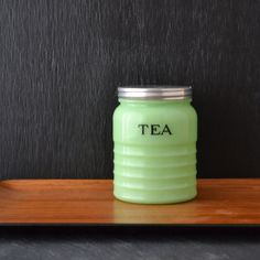 Jadeite Tea Canister - Jeannette Glass - Jadite Round Tea Canister - Vintage Kitchen Canister - Mint Green on Etsy, $115.00