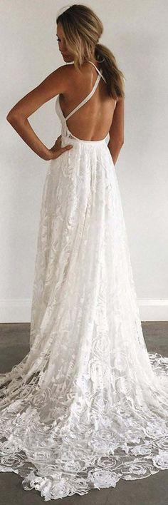 Lace Wedding Dresses #LaceWeddingDresses, A-Line Wedding Dresses #A-LineWeddingDresses, Wedding Dresses Backless #WeddingDressesBackless