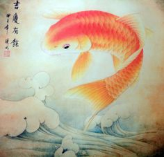 """★Stunning """"25x25""""chinese signed Watercolor painting-fengshui koi fish,sea ★"""