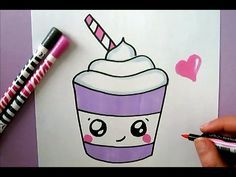 Cute starbuck ice cream to draw :) howto ! Cute Easy Drawings, Kawaii Drawings, Doodle Drawings, Disney Drawings, Tattoo Graphique, 365 Kawaii, Videos Kawaii, Kawaii Doodles, Painted Rocks