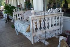 Day bed made porch swing. Thinking of doing this but with the crib made into a day bed, made into a porch swing.....paint it a different color and use antique glaze....would be perfect!