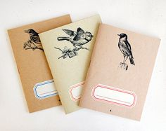 Notebook birds trio  lot of 3  limited edition of 30 by ARMINHO, $14.00 We could even create journals!