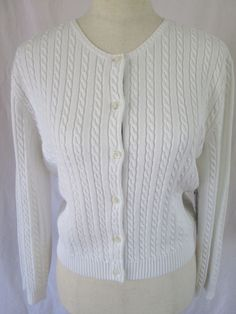 NEW American Living Cardigan White Cable Knit Sweater New With Tags Size X-Lrg #AmericanLiving #Cardigan