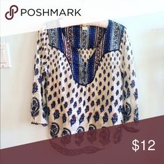 Lucky Brand Boho Peasant Blouse Peasant blouse by Lucky Brand! Beautiful pattern. I discount bundles 25%  Lucky Brand Tops Blouses