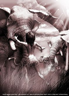 Mowgli and Hathi Cg Artwork, Fantasy Artwork, Book Libros, Elephant, Photoshop, Drawings, Imagination, Books, Painting
