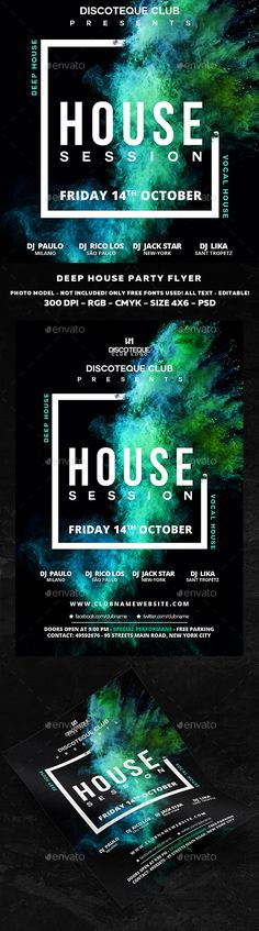 House Flyer  #night club #party • Available here → http://graphicriver.net/item/house-flyer/15641326?ref=pxcr