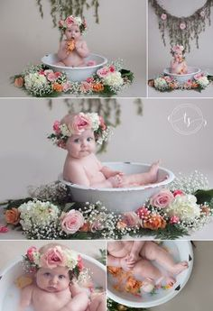 Milk Bath Baby Session | Floral Milk Bath Session | 6 Month Milk Bath Session | Tiffany Smith Photography | Chattanooga Area Baby Photographer