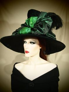 Couture Witch Hat Emerald City 23 One of a by EvercrumblyAndWitch, $129.00
