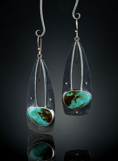 Turquoise Soul  . . .   Royston Turquoise Earrings. Fabricated Sterling Silver and 14k Gold.