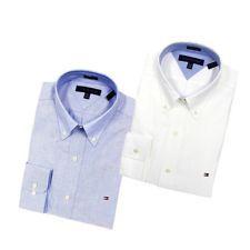 Tommy Hilfiger Dress Men's Shirt Slim Fit Heritage Oxford Long Sleeve Blue White