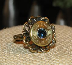 Winchester Western Super 303 British bullet casing flower ring with swarovski rhinestone