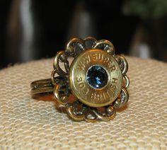 Winchester Western Super 303 British bullet casing flower ring with swarovski rhinestone