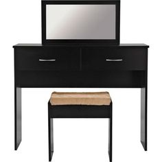 Cheval Dressing Table with Mirror and Stool - Black. at Homebase -- Be inspired and make your house a home. Buy now.