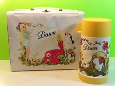 Vintage 70s Aladdin Collectible Dawn Thermos And Lunch Box