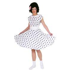 Rock n roll jurk wit. Witte jaren vijftig jurk met petticoat en zwarte polka dots. Inclusief riem.
