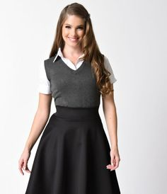 Charcoal Grey V-Neck Pullover Sleeveless Knit Vest - For the Hogwarts Student in you, dear.