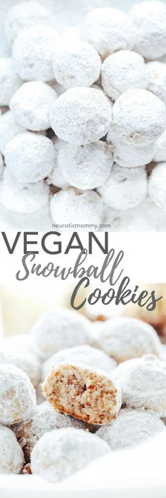 Vegan Snowball Cookies Buttery and delicious pecan shortbread cookies coated in powered sugar. The perfect addition to your cookie boxes and holiday gatherings. Vegan Treats, Vegan Foods, Vegan Snacks, Vegan Dishes, Healthy Cookie Recipes, Whole Food Recipes, Vegan Recipes, Vegan Christmas, Noel Christmas
