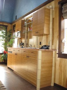 DIY cabinets made out of bamboo plywood and bamboo poles