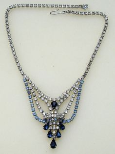 DECO Pale & Sapphire Blue Rhinestone Waterfall Necklace ~ These Vintage jewels look SO MUCH BETTER than the stuff they are selling for HIGH prices now, which looks like cheap sh!t, but cost a lot