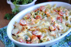 Zapiekanka makaronowa z łososiem i jarmużem Penne, Mozzarella, Cheeseburger Chowder, Chili, Curry, Soup, Bulgur, Chile, Chilis