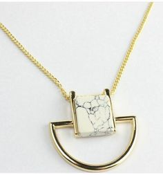Square White Stone Pendant Long Necklace