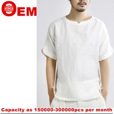 100% linen mens casual t shirt made in china