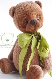 knitted Teddy bear  - Orsy Growth of 17 cm, 5 splints, stuffed with wool. Bear very loves to read Russian fairy tales