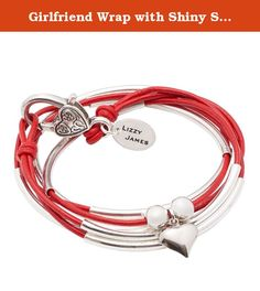 Girlfriend Wrap with Shiny Silver Heart Charm Silverplate XXXLarge Bracelet Necklace with Gloss Red Leather Wrap by Lizzy James. The Girlfriend Wrap with Shiny Silver Heart Charm can be the perfect Valentine's Day gift. This leather wrap bracelet can also be worn as a necklace. Handcrafted in the USA, choose from over 50 different leather colors and charms to customize your look. double leather strand can be worn as a wrap bracelet & necklace silverplate metal crescents shiny silver heart...