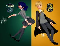 TheBirdFromTheMoon-Art | Miraculous Ladybug | Marinette Dupain-Cheng | Adrien Agreste | Slytherin | Hufflepuff | Harry Potter <<< Idk if marinette would be slytherin, but the pic is still cute.