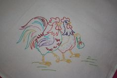 Flour Sack Dish Towel - Colorful Chickens out for a walk