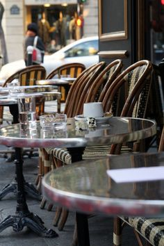 French cafes in Paris  You will never feel rushed.  Take your time,   paint,  read,  write,  be!  Leave a postcard with your address and self stamped, write in CAPITAL LETTERS send me a note.