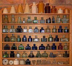 Antique ink bottle collection.