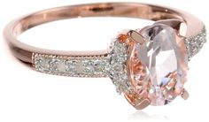 Rose Gold Plated Sterling Silver Morganite and Diamond Ring (0.14 Cttw, G-H Color, I2-I3 Clarity), Size 6 Amazon Curated Collection,RINGS AND THINGS to buy just click on amazon here             http://www.amazon.com/dp/B00BYQJEAG/ref=cm_sw_r_pi_dp_wdYFsb14JHMXM9H7