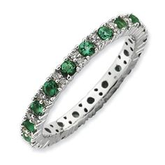 This Stackable Expressions Created Emerald and Diamond Eternity band is the perfect gift for those celebrating May birthdays!