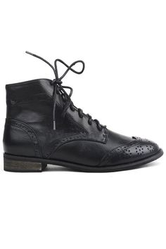 Lace Up Black Flat Ankle Boots