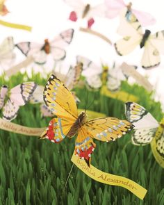 A fresh lawn of wheatgrass makes a glorious field for butterflies to flutter about. Banners bearing guests' calligraphed names seem to billow in a gentle breeze. The butterfly wires are attached to skewers covered with floral tape. Feather butterflies from BJ's Craft Supplies. Calligraphy, Deborah Delaney, 212-877-8773.