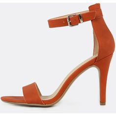 SheIn(sheinside) Single Band Open Toe Ankle Strap Skinny Heels BURNT... (€22) ❤ liked on Polyvore featuring shoes, sandals, orange, party sandals, peep toe sandals, orange high heel sandals, ankle strap sandals and peep-toe shoes