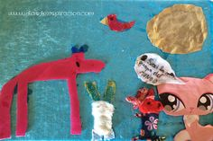 Manualidades para niños: Collage con tela. Crafting with kids: Collage with fabric.