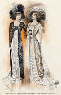 Dresses of 1909 show the new fitted, higher-waisted silhouette and are worn with huge hats