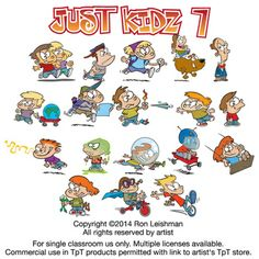 Cartoon clipart of kids in a variety of situations