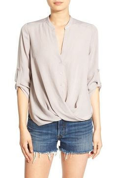 In the BLUE shade -- not this beige. never beige.  Lush Twist Front Woven Shirt available at #Nordstrom