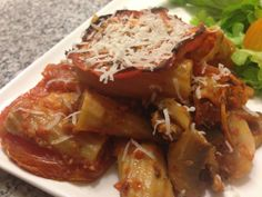 Pasta alla Formiana- Baked mushroom, roasted tomato and olive pasta- an easy weeknight meal
