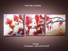 """abstract painting, original painting, canvas art, blossom, tree, 3 Piece, first day of spring, 12""""x36"""" on Etsy, $99.00"""