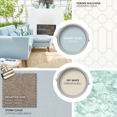 Monday Moodboard - Create a cool, calm living space with tones of pale blue and cream. Add a coastal twist with recycled glass and natural flooring. Blue And Cream Living Room, Farrow And Ball Living Room, Blue Lounge, Cream Sofa, Natural Flooring, Beautiful Sofas, Lounge Decor, Farrow Ball, Recycled Glass