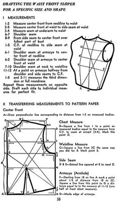 Sewing Tips and Tricks - Sewing Patterns - Fashion - Drafting / pattern making bodice sloper (block) Sewing Lessons, Sewing Hacks, Sewing Tutorials, Sewing Crafts, Sewing Projects, Dress Tutorials, Sewing Tips, Techniques Couture, Sewing Techniques