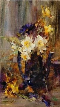 Jonquils in Blue Teapot by Laura Robb Oil ~ 14 x 8